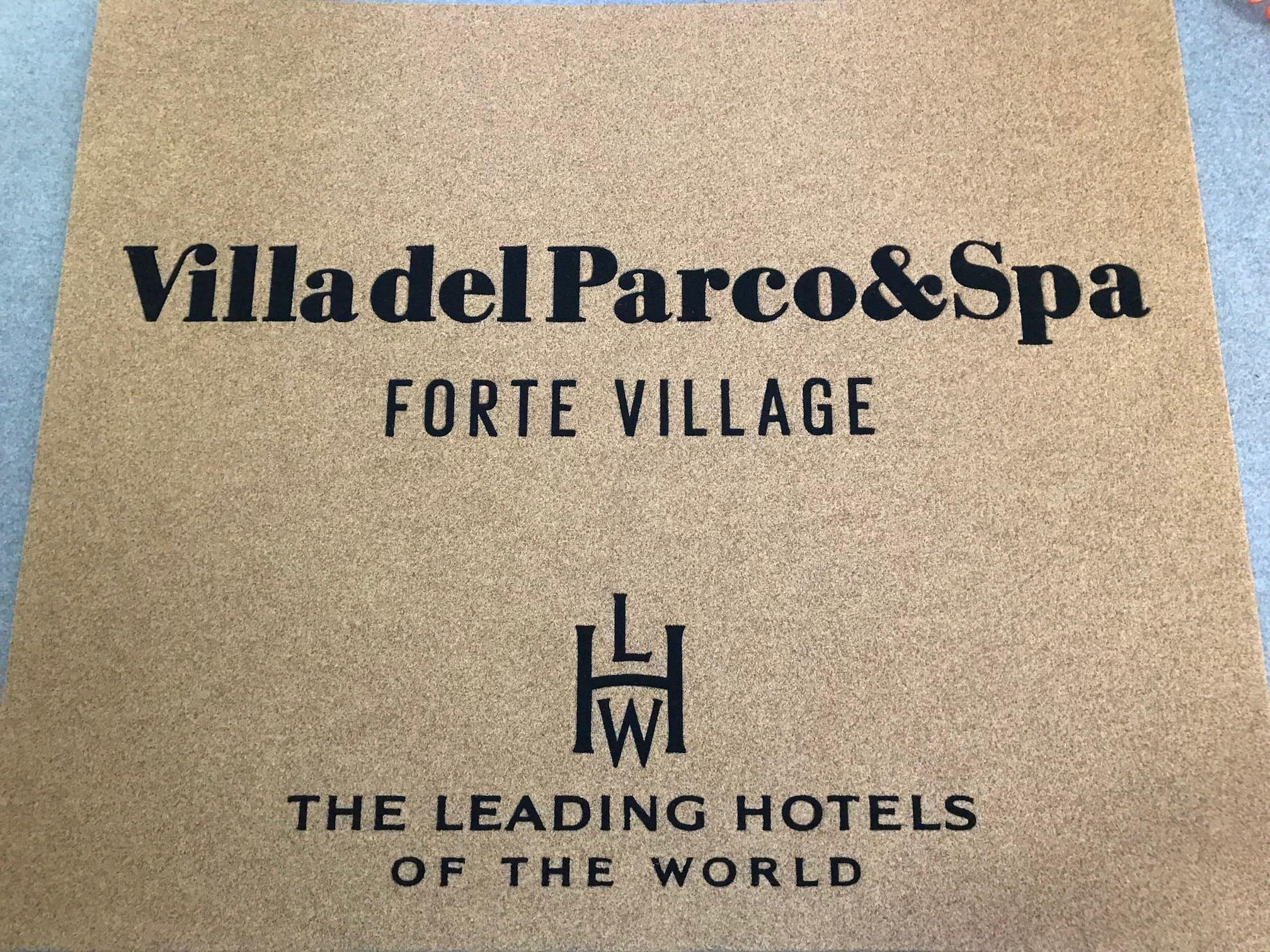 Tappeto intarsiato personalizzato con logo Villa del Parco Spa